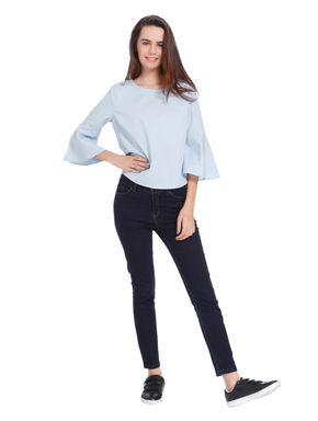 Sky Blue Flared Sleeves Loose Fit Top