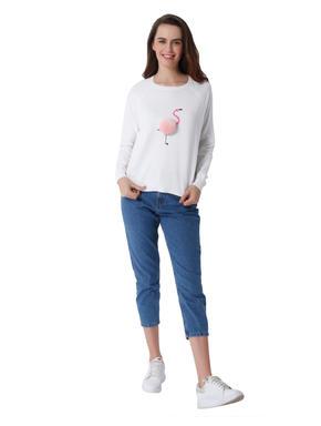 White Flamingo Print Pullover