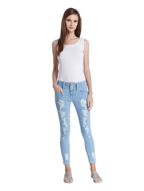Light Blue Distressed Low Rise Skinny Fit Jeans