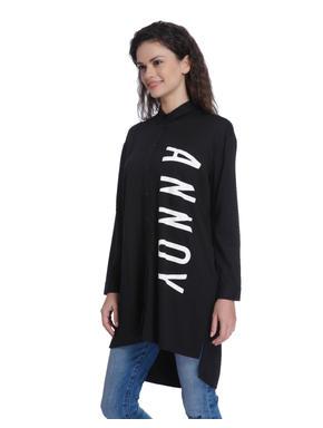 Black Slogan Print Long Shirt