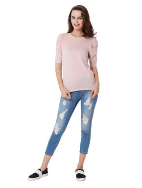 Light Pink Ruched Sleeves Top