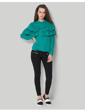Green Solid Full Sleeve Flounce Shirt