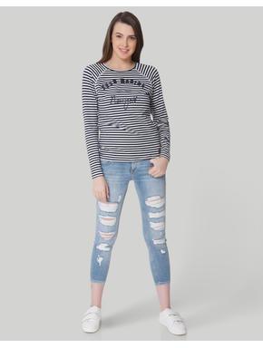 White & Blue Striped T-Shirt