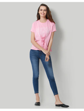 Pink Text Print Lace Up T-Shirt