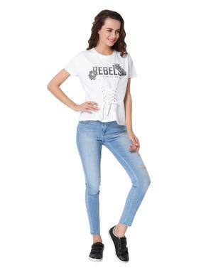 White Corset Style Text Print T-Shirt