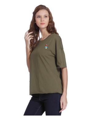 Green Slogan Print Oversized T-Shirt