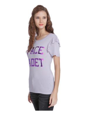 Purple Slogan Print Frill Sleeves T-Shirt