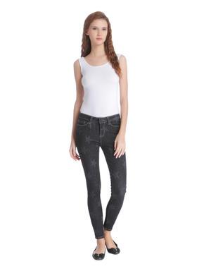 Black Star Print Skinny Jeans