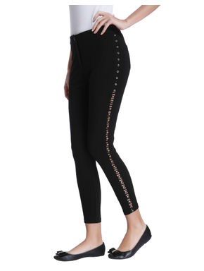 Black Grommet Cropped Leggings