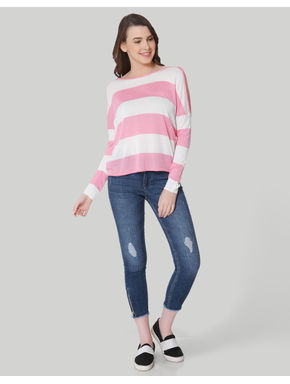 Pink and White Striped Cold Shoulder Pullover