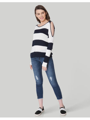 White & Black Striped Cold Shoulder Pullover
