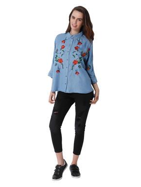 Light Blue Floral Embroidered Denim Shirt