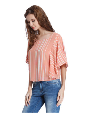 Pink Striped Flared Sleeves Top