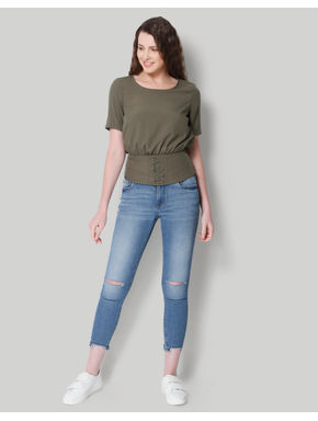 Olive Green Corset Style Top
