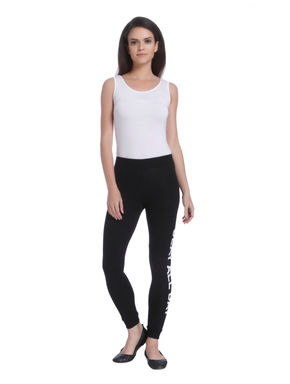 Black Slogan Print Slim Leggings