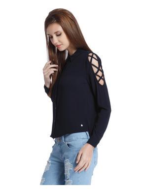 Dark Blue Criss Cross Sleeves Shirt