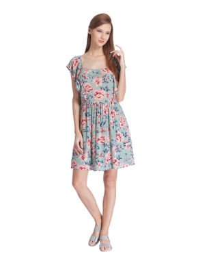 Green Floral Print Mini Dress