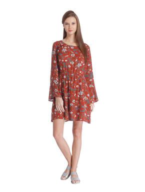 Red Floral Print Mini Dress