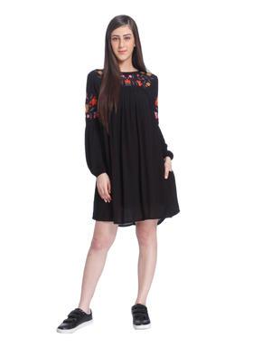 Black Embroidered Mini Dress