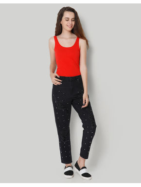 Studded Distressed Black Comfort Fit Jeans