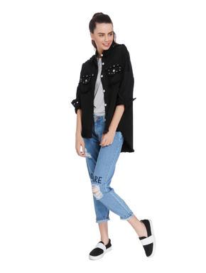 Black Studded Oversized Denim Shirt