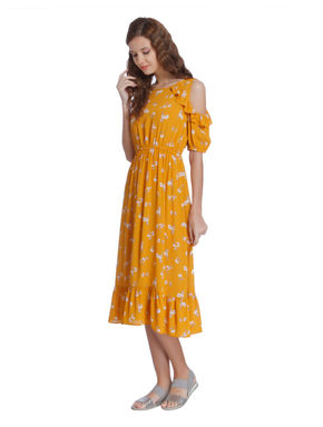 Yellow Floral Print Cold Shoulder Midi Dress