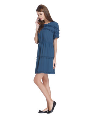 Teal Ruffle Detail Mini Dress