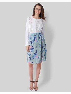 Green Floral Knee Length Crinkle Skirt