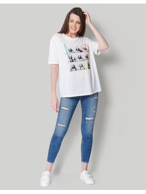 White Picture Print T-Shirt