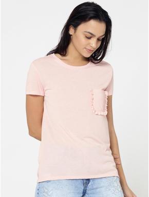 Pink Ruffled Pocket T-Shirt