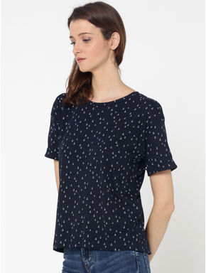 Dark Blue Anchor Print Lace Up Back Top