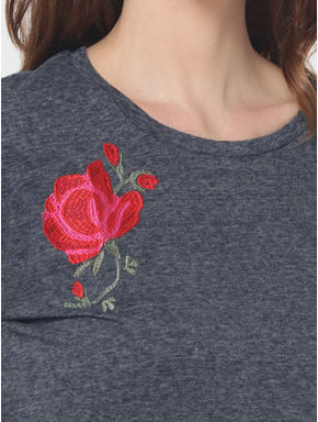Grey Floral Embroidered T-Shirt