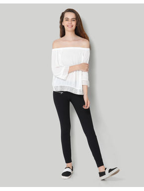 White Off Shoulder 3/4Th Sleeve Top