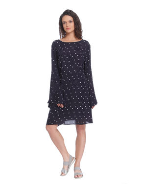 Blue Heart Print Flared Sleeves Shift Dress