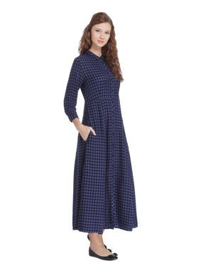 Dark Blue Check Maxi Dress