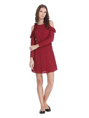 Red Cold Shoulder Lace Dress