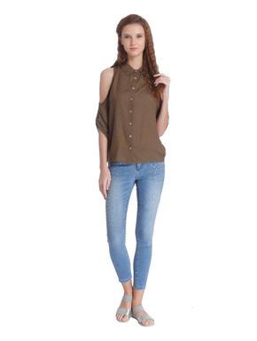 Brown Cold Shoulder Shirt