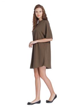 Brown Front Zip Mini Shift Dress