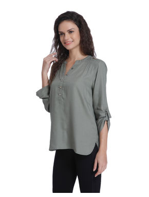 Grey Button Up Sleeves Shirt
