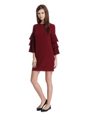 Maroon Frill Sleeves Mini Dress