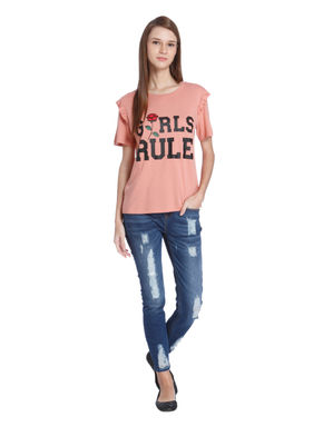 Peach Ruffle Sleeves Graphic Print T-Shirt