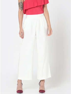 White High Waist Flared Cropped Pants