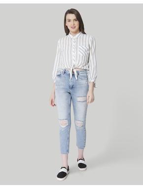 Light Blue High Waist Distressed Boyfriend Jeans