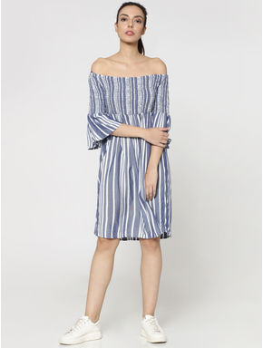 Blue Striped Off Shoulder Smock Shift Dress