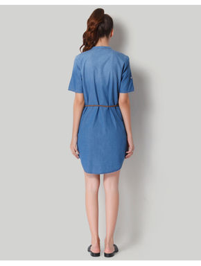 Blue Denim Mandarin Collar Shirt Dress