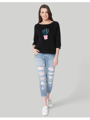 Black Cactus Print Sweatshirt