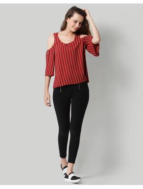 Deep Red Striped Cold Shoulder Top