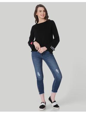 Black LOVE Print Pullover