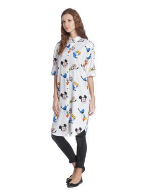 X Donald White Mickey Mouse & Donald Duck Print Long Shirt
