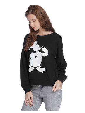 Black Donald Duck Print Sweatshirt